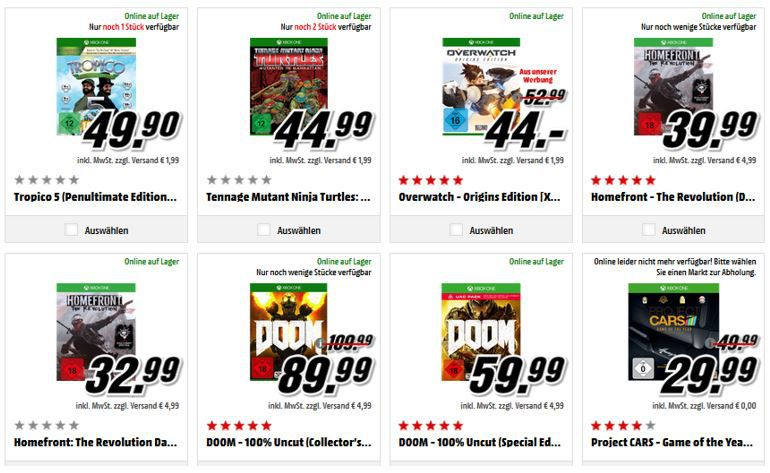 3 XBox one Games Media Markt: 3 XBox One Games kaufen nur 2 zahlen
