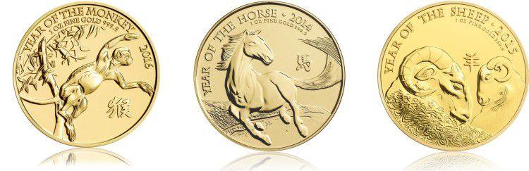 Goldmünzen der Lunarserie (Royal Mint) für je 1210€