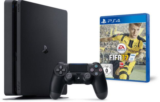 5722 e1474789236180 SONY PlayStation 4 Slim Konsole 1TB Schwarz + FIFA 17 für 349€