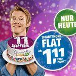 Knaller! klarmobil Telekom Tarif mit 300MB + 100 Minuten nur 1,11€ mtl. – nur heute!