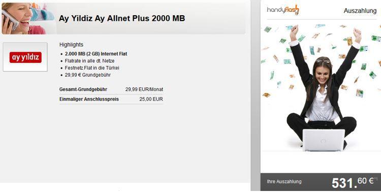 Ay Yildiz Ay Allnet Plus 2000 MB ePlus: deutsche Telefon Flat + türkisches Festnetz + 2 GB Daten für effektiv nur 8,88€ mtl.