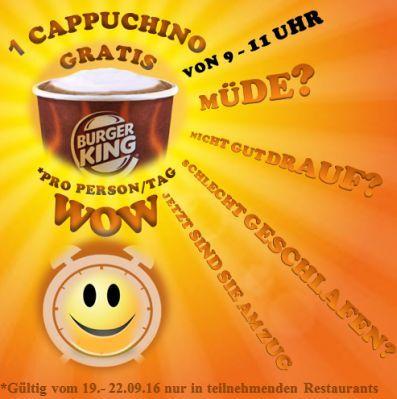 Burgerking: 1 Cappuccino gratis (9 11 Uhr)