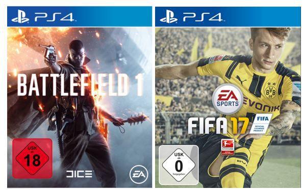 FIFA 17 oder Battlefield 1   PS4 Games für je 57€