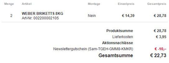 16kg Weber Grill Briketts (neue Version) für 22,73€ (statt 32€)