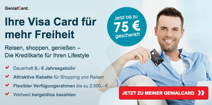 Knaller! Gebührenfreie Hanseatic GenialCard (Visa) + bis zu 75€ geschenkt + bis zu 15% Shopping Cashback
