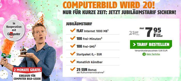 TOP! 2 Monate gratis Vodafone Tarif mit 100 Min/SMS + 1GB (mtl. kündbar)   danach nur 7,95€ mtl.