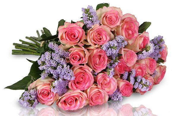 18 rosa Rosen und 7 lila Limonium für 18,90€