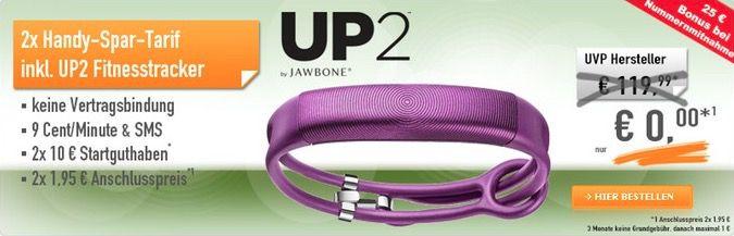 TOP! Jawbone UP2 mit 2 Schubladenverträgen für 4€ (statt 44€)