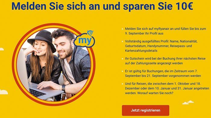 Gratis Ryanair Flüge dank 10€ Gutschein möglich