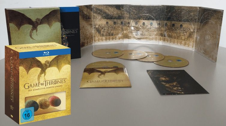 Game Of Thrones Staffel 5 auf Blu ray + 3 Dracheneier + Bonus Disc für 28€