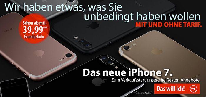 iPhone 7 Tarife bei LogiTel ab 39,99€ mtl.   iPhone 7 ohne Tarif ab 799€