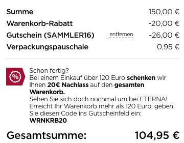 Schnell! 150€ eterna Gutschein Card für 104,95€