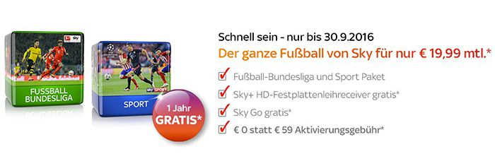 Letzte Chance! Sky Bundesliga + Sky Sport + Sky Go + HD Recorder nur 19,99€ (ohne Aktivierungsgebühr)