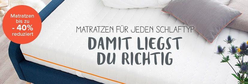 Matratzen Sale mit bis zu 40% Rabatt + weitere 10% + VSK frei + kostenlose Retoure
