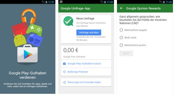 Gratis Google Playstore Guthaben dank Google Umfrage App