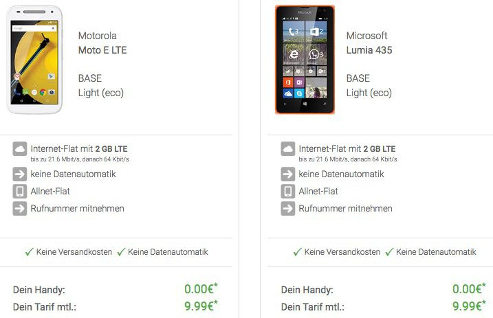 Base Allnet Flat + 2GB LTE + gratis Smartphone für 9,99€ mtl.