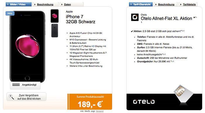 iPhone 7 32GB + otelo Allnet mit 2,5GB für 29,99€ mtl.