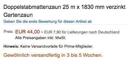 Vorbei! 25 Meter Doppelstabmattenzaun 1,83m Höhe für 51,90€ (statt 549€)