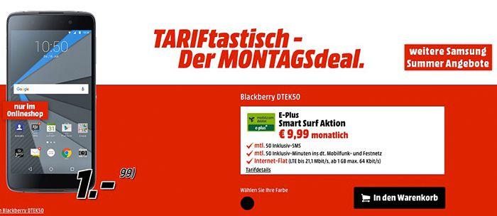 Knaller! Blackberry DTEK50 für 280,75€ + gratis BASE Tarif mit 50 Einheiten + 1GB LTE
