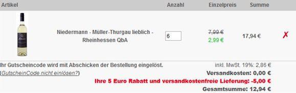Bildschirmfoto 2016 09 27 um 10.05.36 TOP! 6 Flaschen Niedermann Müller Thurgau Weißwein für 12,94€