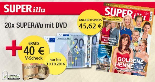 20 Ausgaben der SUPERillu mit DVD für 45,62€ + 40€ Verrechnungsscheck