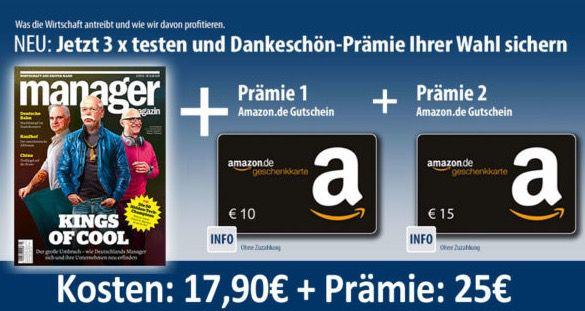 3 Ausgaben Manager Magazin mit 7,10€ Gewinn dank 25€ Amazon.de Gutschein*   Bonus Deal!