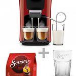 Philips Senseo HD7855/80 Latte Duo Kaffeepadmaschine + 16 Pads + Latte Macchiato Glas für 149€