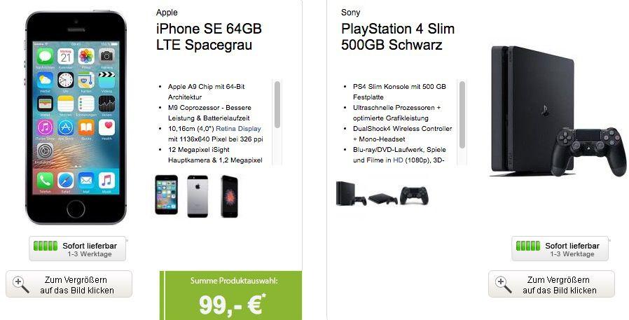Bildschirmfoto 2016 09 29 um 11.37.38 iPhone SE 64GB + Vodafone Smart L mit bis zu 3GB LTE + PS4 Slim für 39,99€ mtl.