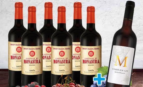 6 Flaschen Monastra Monastrell + 1 Flasche Monastrell Vinos Sin Ley für 29,99€