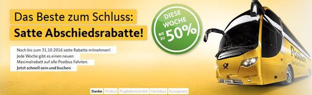 Postbus Fernbus Tickets mit bis zu 65% Rabatt   z.B. Berlin nach Hamburg ab 3,99€