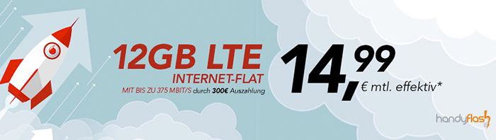 Vodafone Data Go L mit 12GB LTE (bis 375 Mbit/s) für 14,99€ mtl.