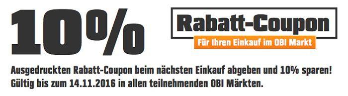 10% OBI Rabatt auf ALLES im Markt   Günstige Grills, Möbel etc.