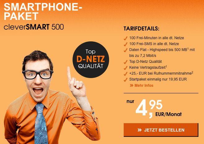 Callmobile Clever Smart 500 (100 Min, 100 SMS + 500MB) für 4,95€ mtl. (ohne Laufzeit)   TOP!