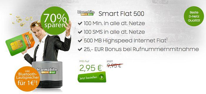 klarmobil Smart Flat im Vodafone Netz für 3,41€ monatlich + Bluetooth Lautsprecher bzw. 2,95€ monatlich ohne Lautsprecher