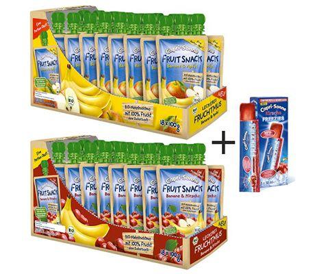 2x Capri Sonne FRUIT SNACK + 1x FREEZIES Banane & Apfel / Kirsche Fruchtmus für 11,95€
