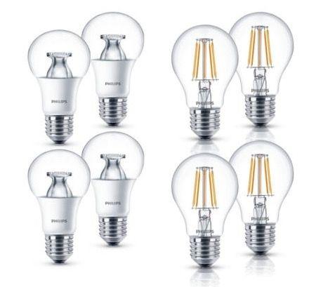 4er Pack Philips LED Lampen E27 9,5W (wie 60W) oder 4,3W (wie 40W) für je 14,99€ (statt 20€)