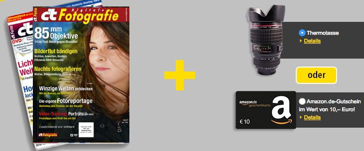 2 Ausgaben c't Digitale Fotografie + 10€ Amazon Gutschein für 13,70€
