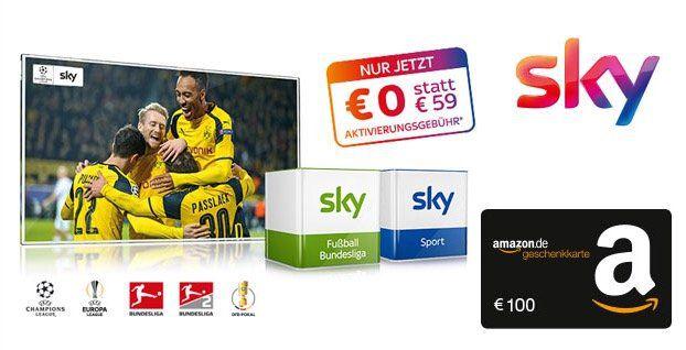 Sky Starter + 1 Paket für 19,99€ mtl. (oder 2 Pakete für 24,99€ mtl.) + 100€ Amazon.de Gutschein* + 0€ Aktivierungsgebühr