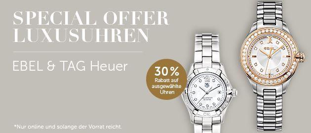 Christ Luxus Angebot Christ : 30 % Rabatt auf ausgewählte Luxus Uhren von EBEL und TAG Heuer