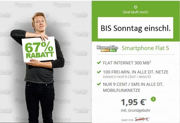 klarmobil Smart Flat im D1 Netz für 1,95€ monatlich