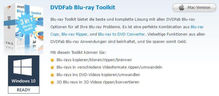 Jahreslizenz DVDFab Blu ray Toolkit gratis
