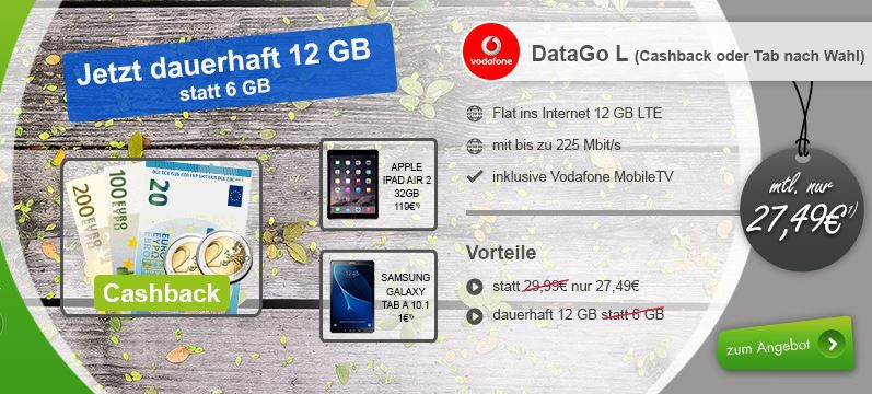 Data Go L Cashback Vodafone Data Go L mit 12GB LTE (bis 375 Mbit/s) für 13,99€ mtl. + gratis Minidrohne