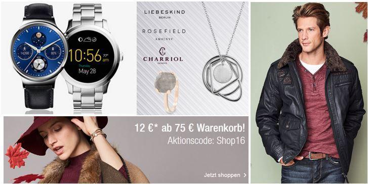 Galeria Kaufhof Gutschein TOP! Galeria Kaufhof Sale + 12€ Gutschein ab 75€ + VSK frei   z.B. günstige Winterjacken