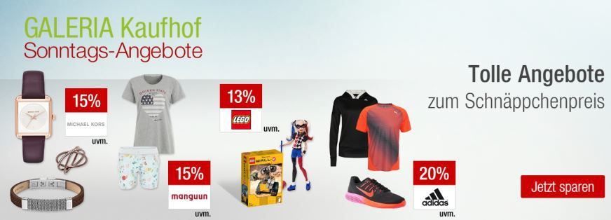 Galeria Kaufhof Sonntag angebote Galeria Kaufhof Sonntagsangebote Übersicht   z.B. 20% Rabatt ausgewählte Running und Wintersport Artikel