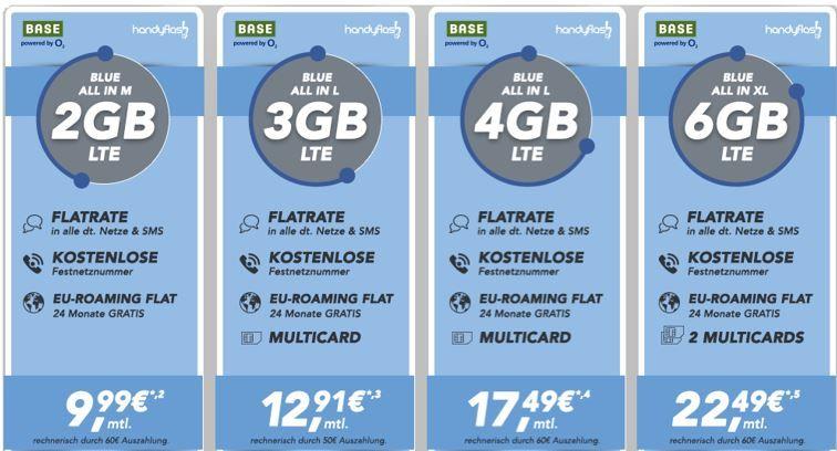 Hammer Flatrate O2 Base SIM Only: AllNet + SMS Flat + Festnetznummer + 2   6GB LTE Daten ab 9,99€ mtl.