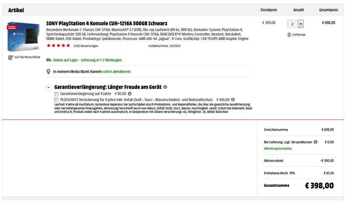 Hammer Rabatt 2x Playstation 4 für 398€ (nur 199€ pro Konsole)   ab sofort Online   HOT