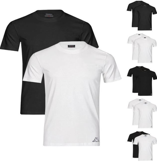 Kappa T Shirts Kappa Herren 4er Pack T Shirts Rundhals oder V Neck für 19,95€