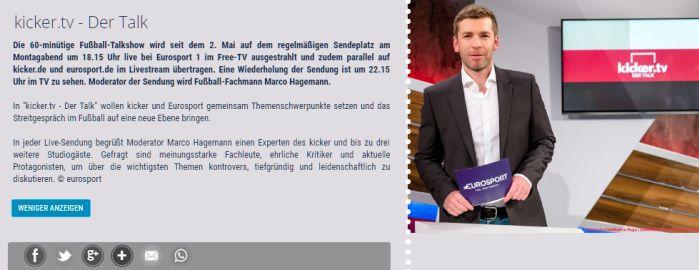 Freikarten für kicker.tv   Der Talk (Live) vom 26.09. bis 28.11.