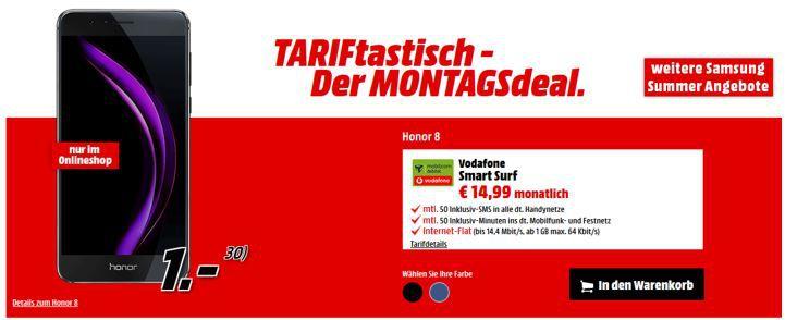 HUAWEI Honor 8 + Vodafone 50Min. +50 SMS + 1GB Daten für nur 14,99€ mtl.