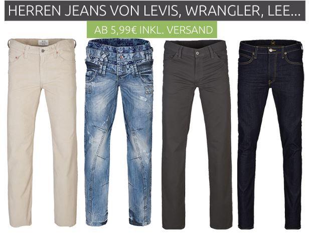 LEVIS, Wrangler, Lee und andere Marken Jeans im Sale ab 7,99€